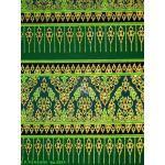 ผ้าพิมพ์ทอง ลายเชิง5ตอน สีเขียว