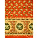 ผ้าพิมพ์ทอง ลายช้าง สีอิฐ