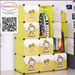 ตู้เสื้อผ้าเด็กอเนกประสงค์ DIY ลายการ์ตูน ลายลิงน้อยจอมซน
