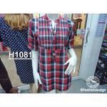 H 1081 เสื้อเชิ้ตแฟชั่นลายสก็อต