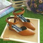 ZARA lady's shoes พร้อมส่ง รองเท้าหัวแหลมส้นเตารีด สีน้ำตาล