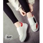 รองเท้าผ้าใบแฟชั่นเกาหลี ทรง Sport เสริมส้น(สีขาว)
