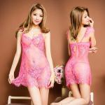 ชุดนอนผ้าซีทรูบาง สีชมพู แต่งลายลูกไม้สวยๆ หน้าอกเสริมโครง