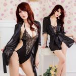 เซต ชุดนอนเท็ดดี้และชุดคลุม สีดำสุดเซ็กซี่ ขนาดฟรีไซส์