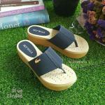 รองเท้าหูคีบแบบเสริมส้น พื้นขนมปังนุ่มที่สุดในสามโลก (สีน้ำเงิน)