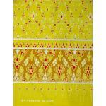 ผ้าพิมพ์ทอง ลายหัวใจหวาน สีเหลือง