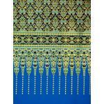 ผ้าพิมพ์ทอง ลายเทพพนมเชิง สีฟ้า