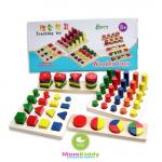 บล็อคไม้รูปทรง แท่นเสียบรูปทรง Teaching Toy Montessori 8 เซต