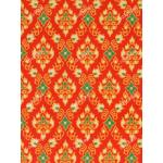 ผ้าลายไทย no.0082 สีส้ม