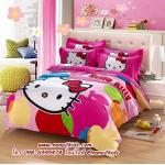 ชุดผ้าปูที่นอน 5 ชิ้นพร้อมผ้านวมหนา ลายคิตตี้(Hello Kitty) มี 3 ขนาด
