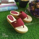 รองเท้าหูคีบแบบเสริมส้น พื้นขนมปังนุ่มที่สุดในสามโลก (สีแดง)