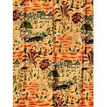 ผ้าพิมพ์ทอง no.0085 ส้มอิฐ