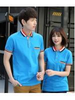 สินค้าพรีออเดอร์!!! เสื้อโปโลสีพื้น ผ้าฝ้าย สีฟ้า สำหรับผู้ชาย และผู้หญฺิง
