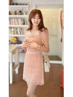 +ชุดเดรสลูกไม้ สุดสวย+ ชุดแซกเกาหลี Brand FLENKIY ตัวชุดด้านหน้าผ้าถักสีชมพูโอรส คอเสื้อและเอวคาดด้วย ผ้าชีฟองสีชมพูโอรส