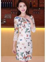+ชุดแซกเกาหลี Brand Clothing Beauty+ เดรสผ้าลูกไม้หนา สีขาว ลายผีเสื้อ มีซิบด้านข้างลำตัว เนื้อผ้าเกรด A