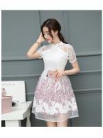ชุดเดรสสวยๆ ตัวเสื้อผ้าลูกไม้ชนิดเนื้อนิ่ม ยืดหยุ่นได้ดี สีขาว คอจีน แขนสั้น