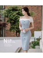 ชุดเดรสเกาหลี ผ้าโพลีเอสเตอร์ผสม สีฟ้า ไหล่และคอเสื้อเป็นผ้าชีฟองเนื้อหนาสีขาว ไหล่ป้าน