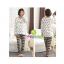 ชุดนอนคนท้อง เสื้อแขนยาวและกางเกงขายาวลายหัวใจสีขาว เปิดให้นมได้ - PJ0003 thumbnail 1