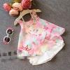 ชุดเสื้อลายดอกสีชมพูหวานๆ พร้อมกางเกงสีขาวตกแต่งโบว์ ไซส์ 9, 13, 15