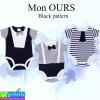 ชุด เด็กอ่อน Mon OURS Black pattern เซ็ท 3 ตัว ราคา 240 บาท ปกติ 720 บาท