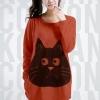 เสื้อยืดแฟชั่นตัวยาว ลายแมว แขนยาว สีส้ม (สำหรับสาวตัวใหญ่ หรือสาวๆ ที่ชอบเสื้อตัวโคร่ง)