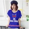 เสื้อยืดแฟชั่น ผ้านุ่ม ลาย Doc Dog (Size M:36 นิ้ว) สีน้ำเงิน