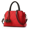 พร้อมส่ง ขายส่งกระเป๋าผู้หญิงถือและสะพายข้าง แต่งลายเรขาคณิต *แถมพู่ รหัส Yi-2908 สีแดง 1 ใบ