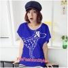 เสื้อยืดแฟชั่น ผ้านุ่ม ลาย Love Me (Size M:32-36 นิ้ว) สีน้ำเงิน