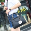 พร้อมส่ง กระเป๋าหนัง กระเป๋าถือและสะพายข้างสตรีวัยกลางคน แฟชั่นเกาหลี รหัส KO-638 สีดำ 2 ใบ