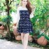 เสื้อผ้าแฟชั่น สุด Chic ชุดเดรสเกาหลี จั๊มแขน รหัส RN46_2