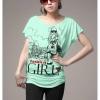 เสื้อยืดแฟชั่น ผ้านุ่ม ลาย Fashion Girl สีเขียวมินท์