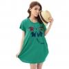 เสื้อยืดแฟชั่นตัวยาว /แซกสั้น ทรงสวย ผ้านุ่ม ลาย Butterfly Smile สีเขียว