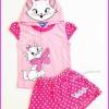 ชุดเสื้อลายแมว Marie สีชมพู มีฮู้ด พร้อมกระโปรงกางเกง ไซส์ S(2-3 ขวบ)