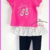 ชุดเสื้อสีชมพู แขนตุ๊กตา ปักลายรองเท้าแก้วน่ารัก พร้อมกับกางเกงกระโปรง ไซส์ 3, 6, 9 เดือน