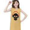 เสื้อยืดแฟชั่นตัวยาว / แซกสั้น แขนกุด ผ้านุ่ม ลาย Skull I (สีเหลือง