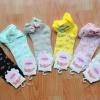 S365**พร้อมส่ง** (ปลีก+ส่ง) ถุงเท้าแฟชั่นเกาหลี พับข้อ แต่งขอบระบาย ประดับโบว์ เนื้อดี งานนำเข้า(Made in china)