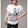 เสื้อยืดแฟชั่น ผ้านุ่ม ลาย Fashion Girl สีขาว