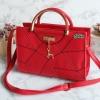 พร้อมส่ง HB-4201 สีแดง กระเป๋าแฟชั่นเกาหลีแต่งลายเย็บและอะไหล่กวาง