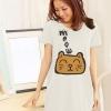 เสื้อยืดเกาหลี ตัวยาว / แซกสั้น Cotton Combed เนื้อนุ่ม งานคุณภาพ ลาย แมวเหมียว สีขาว
