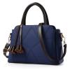 พร้อมส่ง ขายส่งกระเป๋าผู้หญิงถือและสะพายข้าง แต่งลายเรขาคณิต *แถมพู่ รหัส Yi-2908 สีน้ำเงิน 2 ใบ