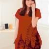เสื้อยืดแฟชั่นตัวยาว (ผ้าเนื้อนุ่ม) ลาย จิงโจ้ สีส้ม