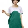 เสื้อยืดแฟชั่นตัวยาว ลายสองสี สี ขาว- เขียว
