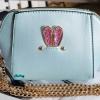 พร้อมส่ง KB-628-1-สีฟ้ามุก กระเป๋าสะพายไซร์มินิน่ารักสายสะพายโซ่แต่งอะไหล่ Glitter-rabbit หนังมุก