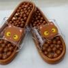 K014-BR **พร้อมส่ง** (ปลีก+ส่ง) รองเท้านวดสปา เพื่อสุขภาพ ปุ่มเล็กสลับใหญ่ ลายแมว สีน้ำตาล ส่งคู่ละ 150 บ.