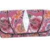 กระเป๋าสตางค์ปลากระเบน แบบ 3 พับ เม็ดใหญ่ ลวดลาย ผีเสื้อและดอกไม้ สีชมพูหวานแหวว Line id : 0853457150