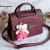 พร้อมส่ง KB-833 สีม่วงมะเหมี่ยว กระเป๋าแฟชั่นเกาหลีแต่งลายเย็บ พร้อมน้องหมี Princess bear