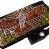กระเป๋าสตางค์ยาว สีดำ รูป นกอินทรีย์และช่อไม้ แบบ 2 พับ พร้อมโซ่ Line id : 0853457150
