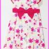 ชุดเดรสลายดอกไม้หวานๆสีชมพู คาดเอวด้วยโบว์ชมพู ไซส์ 5 ขวบ