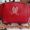 พร้อมส่ง KB-628-1-สีแดง กระเป๋าสะพายไซร์มินิน่ารักสายสะพายโซ่แต่งอะไหล่ Glitter-rabbit หนังมุก