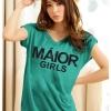 เสื้อยืดแฟชั่น ตัวยาว ผ้าเนื้อนิ่ม ลาย Maior สีเขียว ( ตัวยาว size เล็ก สำหรับสาวสะโพกไม่เกิน 38 นิ้ว)